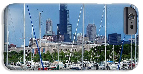 Soldier Field iPhone Cases - The Docks at Burnham Harbor Chicago iPhone Case by Wernher Krutein