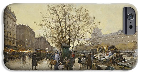 19th Century Paintings iPhone Cases - The Docks of Paris Les Quais a Paris iPhone Case by Eugene Galien-Laloue