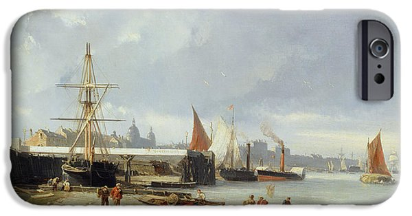 River iPhone Cases - The Docks On The Bank At Greenwich Oil On Panel iPhone Case by Julius Hintz