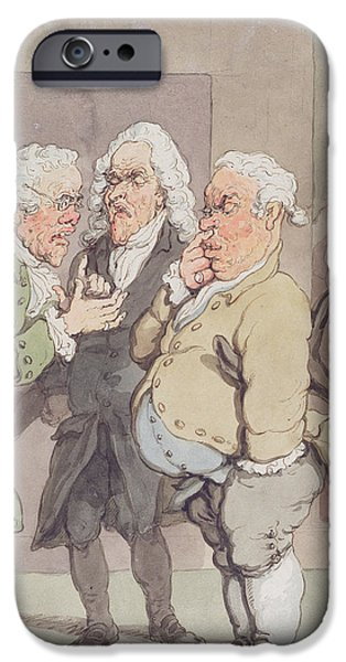 Interior Scene iPhone Cases - The Doctors Consultation, 1815-1820 Pen And Ink And Wc Over Graphite On Paper iPhone Case by Thomas Rowlandson