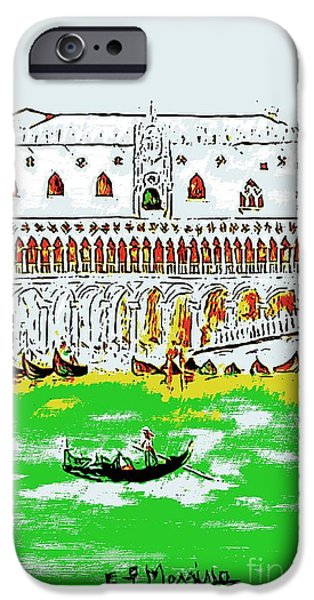 Buildings Mixed Media iPhone Cases - The Doges Palace iPhone Case by Loredana Messina