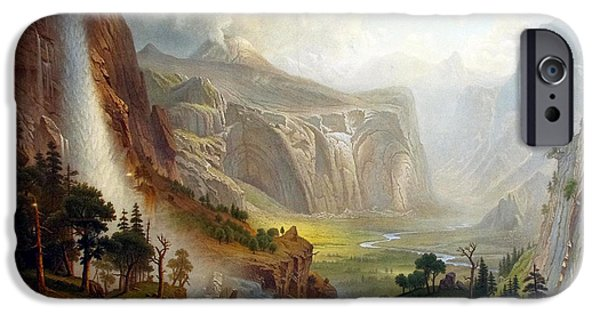 The Dome iPhone Cases - The Domes of the Yosemite iPhone Case by Albert Bierstadt