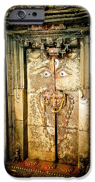 Tibetan Buddhism iPhone Cases - The door of old monastery Swamuboudnath iPhone Case by Raimond Klavins