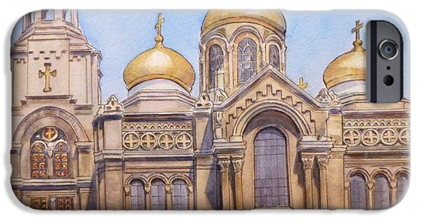 Orthodox Paintings iPhone Cases - The Dormition of the Mother of God Cathedral  Varna Bulgaria iPhone Case by Henrieta Maneva