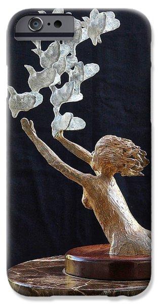 Birds Sculptures iPhone Cases - The Dove Maiden iPhone Case by Dan Redmon