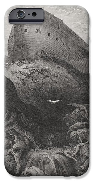 Noah iPhone Cases - The Dove Sent Forth From The Ark, Genesis 138-9, Illustration From Dores The Holy Bible, 1866 iPhone Case by Gustave Dore