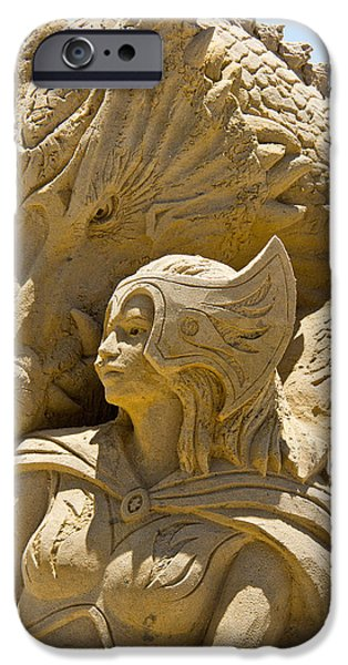 Sand Castles iPhone Cases - The Dragon and The Goddess iPhone Case by Tom Gari Gallery-Three-Photography