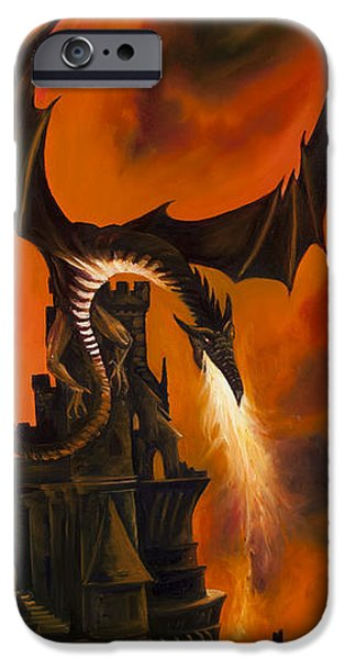 Thunder Paintings iPhone Cases - The Dragons Tower iPhone Case by James Christopher Hill