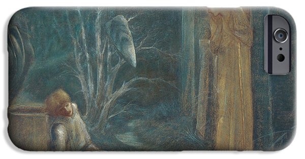 Blue Pastels iPhone Cases - The Dream of Lancelot iPhone Case by Sir Edward Burne-Jones