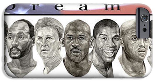 John Stockton iPhone Cases - the Dream Team iPhone Case by Tamir Barkan