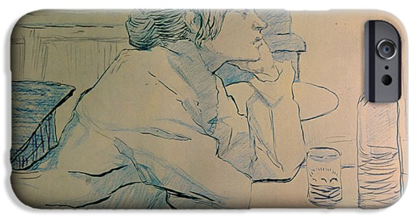 Ink On Paper iPhone Cases - The Drinker or an Hangover iPhone Case by Henri de Toulouse-lautrec