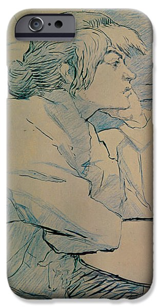 The Drinker or an Hangover iPhone Case by Henri de Toulouse-lautrec