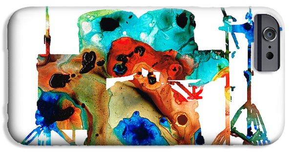 Musician Art iPhone Cases - The Drums - Music Art By Sharon Cummings iPhone Case by Sharon Cummings
