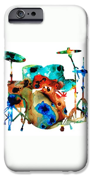 Musical iPhone Cases - The Drums - Music Art By Sharon Cummings iPhone Case by Sharon Cummings