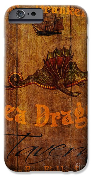Cave Digital Art iPhone Cases - The Drunken Sea Dragon Pub Sign iPhone Case by Cinema Photography