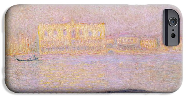 Impressionist Photographs iPhone Cases - The Ducal Palace From San Giorgio, 1908 Oil On Canvas iPhone Case by Claude Monet