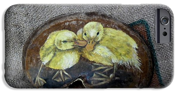 Original Reliefs iPhone Cases - The ducks iPhone Case by Ildiko Decsei