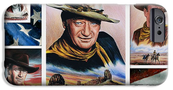 Famous Faces iPhone Cases - The Duke American Legend iPhone Case by Andrew Read