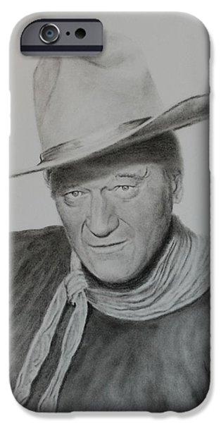 John Wayne Drawings iPhone Cases - The Duke iPhone Case by Brent  Mileham