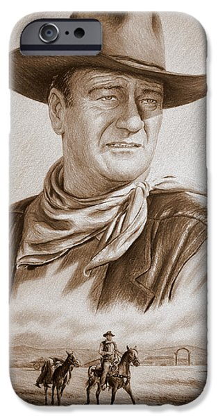 1950s Movies iPhone Cases - The Duke Captured sepia grain iPhone Case by Andrew Read