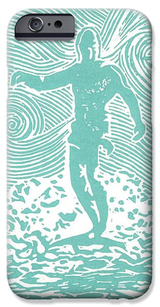 Lino Cut iPhone Cases - The Duke in Aqua iPhone Case by Stephanie Troxell