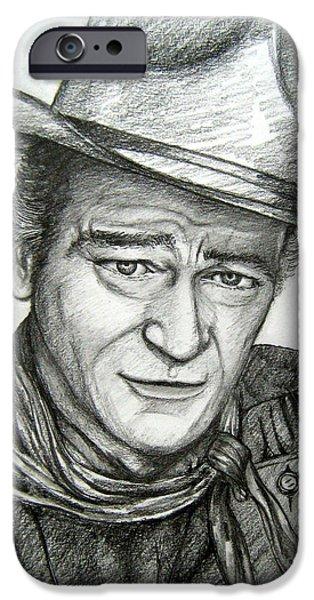 John Wayne Drawings iPhone Cases - The Duke John Wayne iPhone Case by Patrice Torrillo
