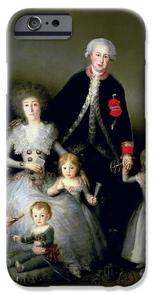Child iPhone Cases - The Duke Of Osuna And His Family, 1788 Oil On Canvas iPhone Case by Francisco Jose de Goya y Lucientes