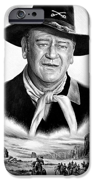 John Wayne Drawings iPhone Cases - The Duke US Cavalry iPhone Case by Andrew Read