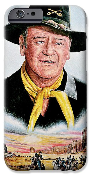 John Wayne Drawings iPhone Cases - The Duke U.S.Cavalry iPhone Case by Andrew Read