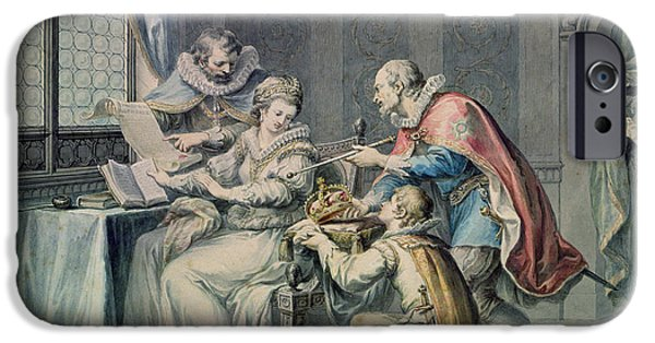 Begging iPhone Cases - The Dukes Of Northumberland And Suffolk Praying Lady Jane Grey To Accept The Crown iPhone Case by Giovanni Battista Cipriani