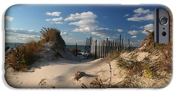 Beach Landscape iPhone Cases - The Dunes on the bay in Montauk iPhone Case by Deborah A Andreas