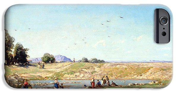 Provence Photographs iPhone Cases - The Durance Valley, 1867 Oil On Panel iPhone Case by Paul Camille Guigou