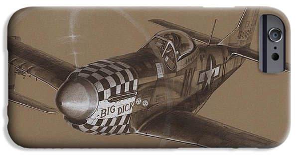 P-51 Mustang iPhone Cases - The Duxford Boys drawing iPhone Case by Wade Meyers