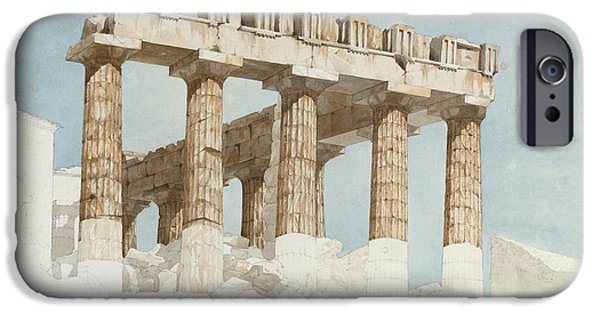 Acropolis iPhone Cases - The East End And South Side Of The Parthenon, C.1813 Wc & Graphite On Paper iPhone Case by John Foster