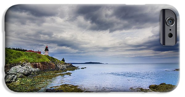 West Quoddy Head Lighthouse iPhone Cases - The eastern most point in the U.S.A  iPhone Case by Mircea Costina Photography