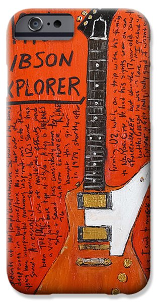 U2 Paintings iPhone Cases - The Edge Gibson Explorer iPhone Case by Karl Haglund