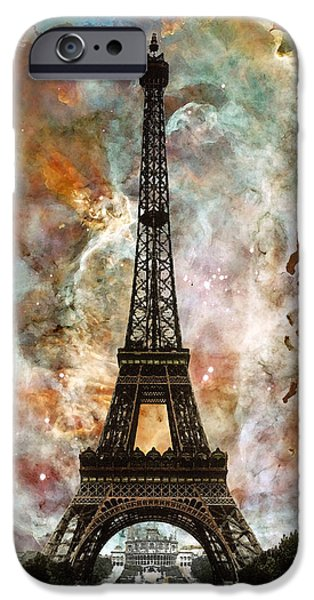 Modern Abstract Mixed Media iPhone Cases - The Eiffel Tower - Paris France Art By Sharon Cummings iPhone Case by Sharon Cummings