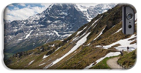 Snow Scene iPhone Cases - The Eiger Switzerland iPhone Case by Mark Monckton
