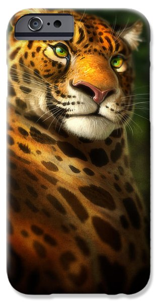 Jaguars iPhone Cases - The Emerald Kingdom iPhone Case by Aaron Blaise
