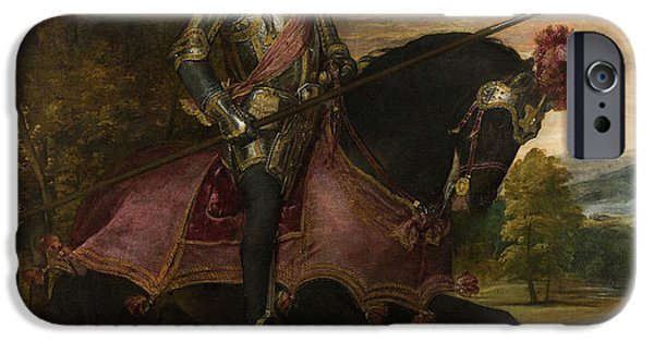 Roman Emperor iPhone Cases - The Emperor Charles V 1500-58 On Horseback In Muhlberg, 1548 Oil On Canvas iPhone Case by Titian