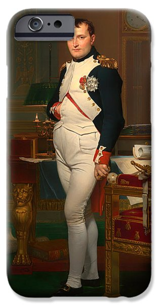 Concept Paintings iPhone Cases - The Emperor Napoleon in His Study 1812 iPhone Case by David