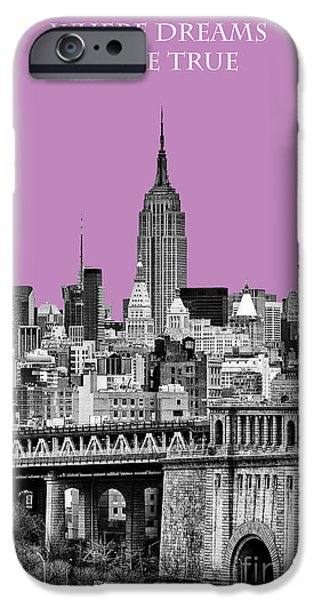 Empire State iPhone Cases - The Empire State Building pantone african violet iPhone Case by John Farnan