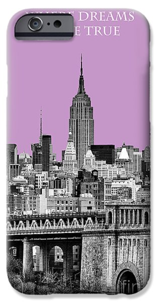 The Empire State Building Pantone african violet light iPhone Case by John Farnan