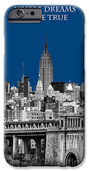 The New York New York iPhone Cases - The Empire State Building pantone blue iPhone Case by John Farnan