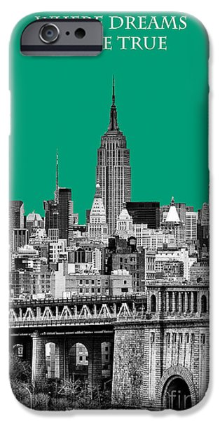 Pantone iPhone Cases - The Empire State Building Pantone Emerald iPhone Case by John Farnan
