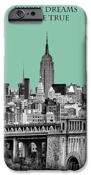 The New York New York iPhone Cases - The Empire State Building Pantone Jade iPhone Case by John Farnan