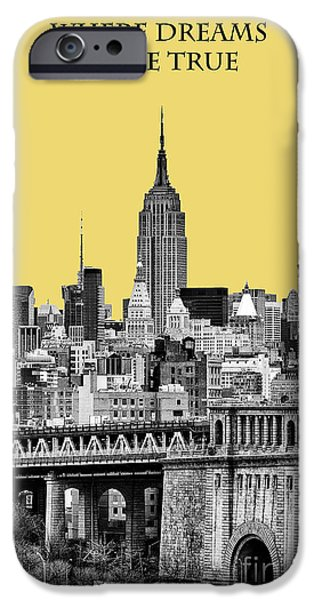 The New York New York iPhone Cases - The Empire State Building pantone lemon iPhone Case by John Farnan