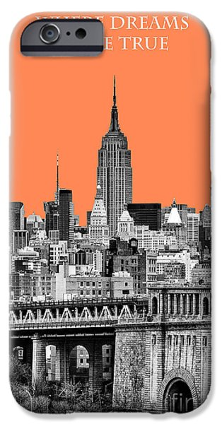 The New York New York iPhone Cases - The Empire State Building pantone nectarine iPhone Case by John Farnan
