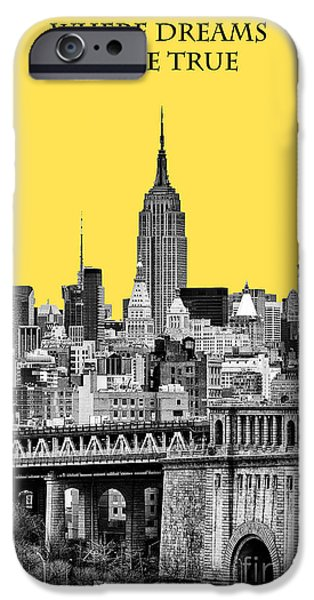 Yellow iPhone Cases - The Empire State Building pantone yellow iPhone Case by John Farnan