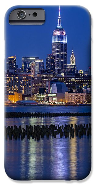 Hudson River iPhone Cases - The Empire State Building Pastels ESB iPhone Case by Susan Candelario